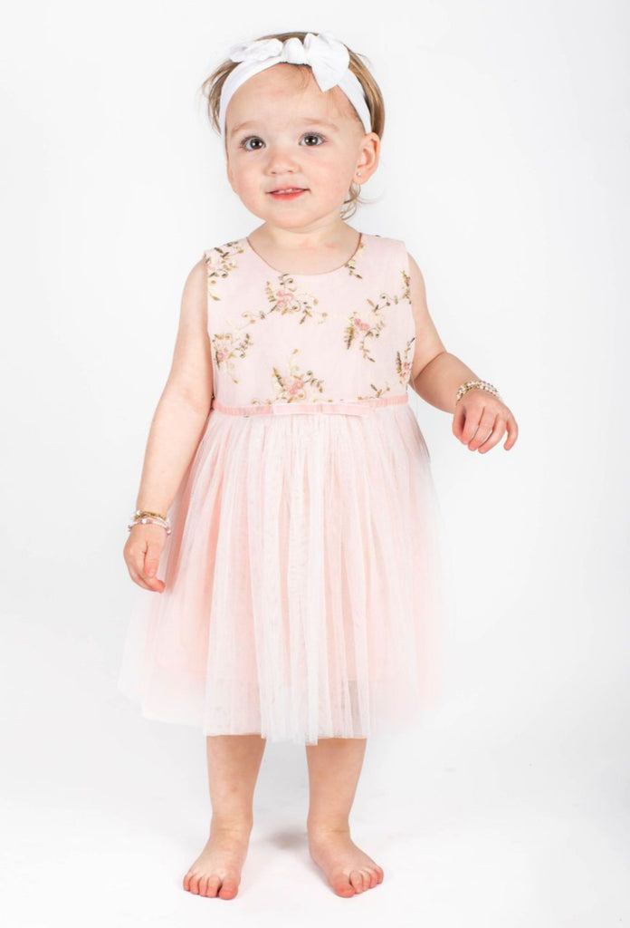 Popatu Baby Girls Pink Flower Embroidered Tulle Dress