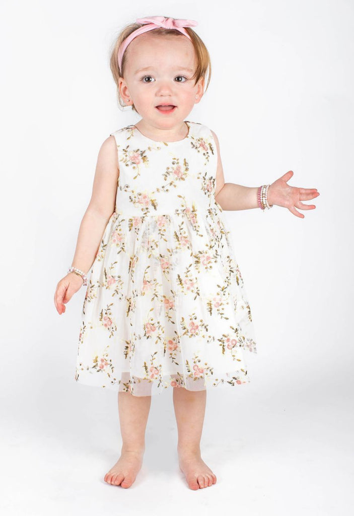 Popatu Baby Girls Cream Flower Girl Dress