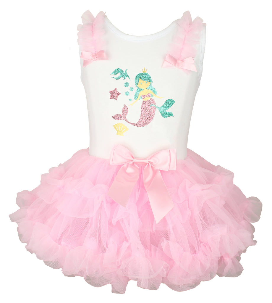 Popatu Girls Pink Mermaid Ruffle Dress - Popatu pageant and easter petti dress