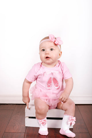 Popatu Baby Tutu Bodysuit Pink Ballerina - Popatu pageant and easter petti dress
