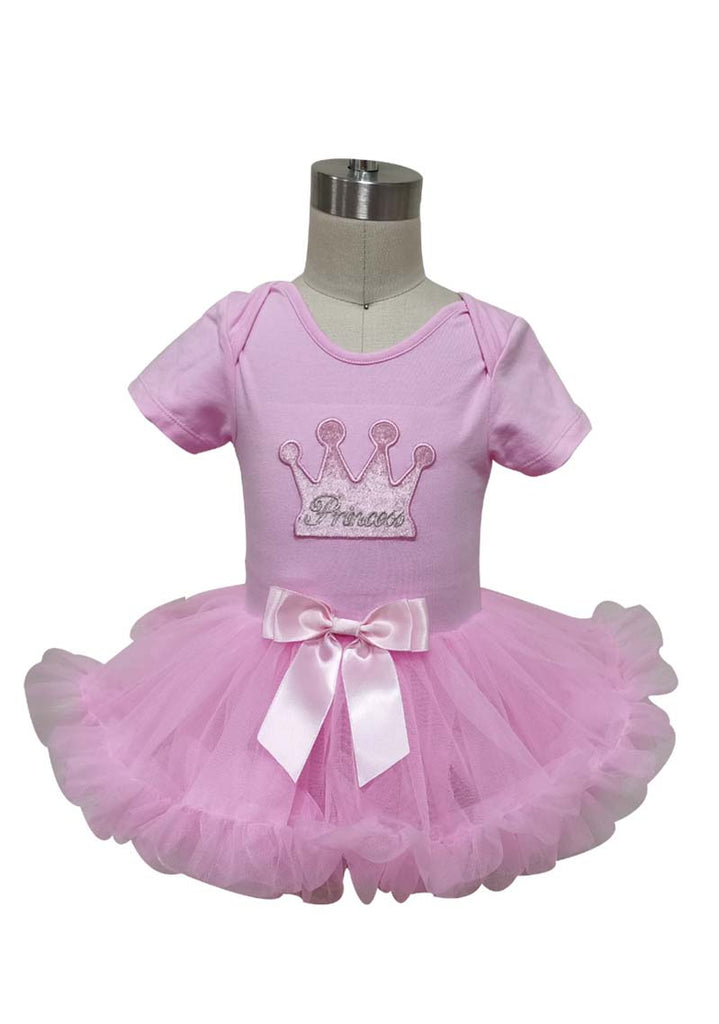 Popatu Little Girls Pink Princess Crown Special Ruffle Petti Dress - Popatu pageant and easter petti dress