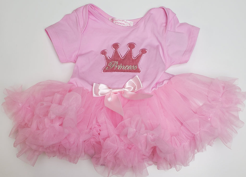 Popatu Little Girls Pink Princess Crown Special Ruffle Petti Dress