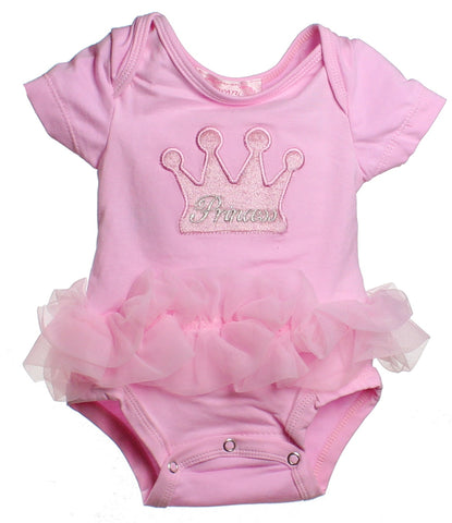 Popatu Baby Tutu Bodysuit Pink Princess Crown - Popatu pageant and easter petti dress