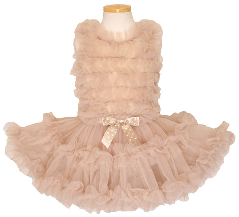 Popatu Little Girls Ivory Ruffle Petti Dress - Popatu pageant and easter petti dress