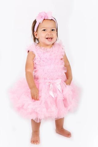 Popatu Little Girls Pink Ruffle Petti Dress