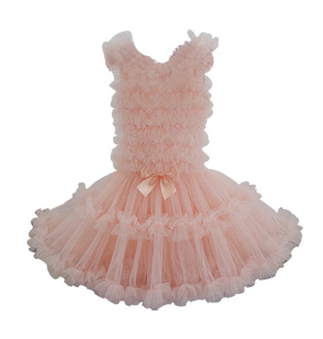 Popatu Little Girls Dusty Rose Ruffle Petti Dress - Popatu pageant and easter petti dress