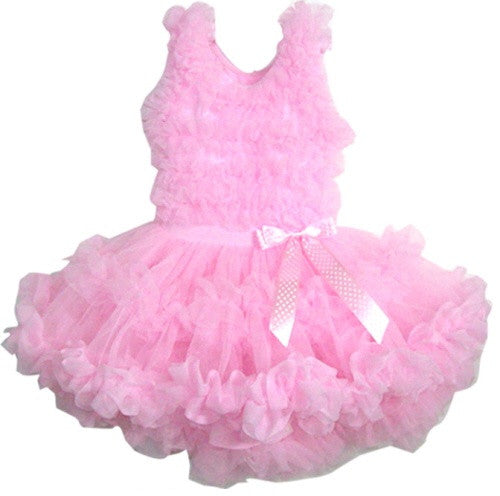 Popatu Little Girls Pink Ruffle Petti Dress - Popatu pageant and easter petti dress