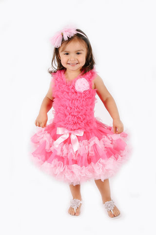 Popatu Little Girls Hot Pink/Pink Ruffle Petti Dress.