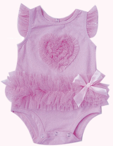 Popatu Baby Tutu Bodysuit Pink Ruffle Heart - Popatu pageant and easter petti dress