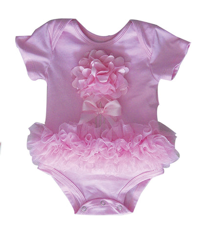 Popatu Baby Tutu Bodysuit Pink Big Flower - Popatu pageant and easter petti dress