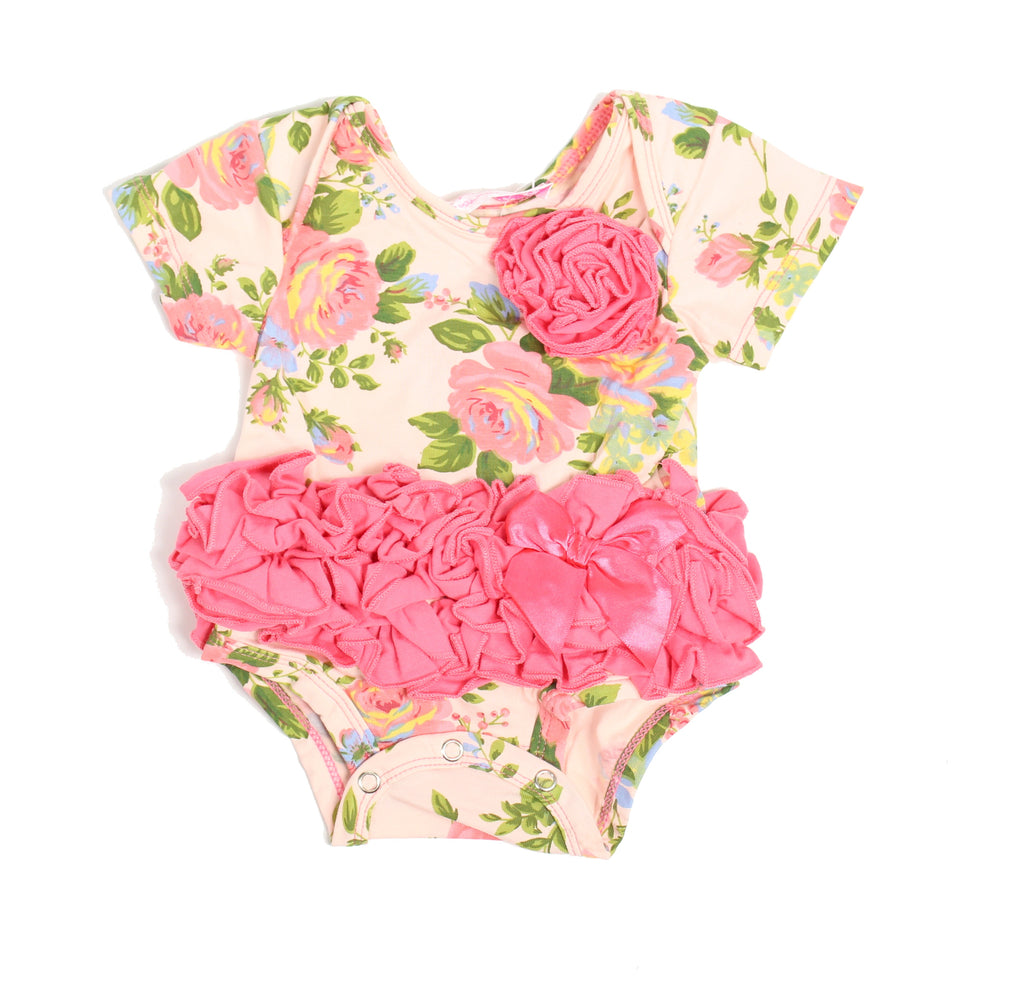Popatu Baby Tutu Bodysuit Rose Pattern - Popatu pageant and easter petti dress