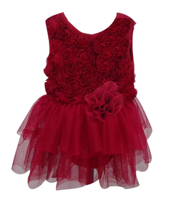 Popatu Baby Tulle Dress Burgundy Mini Tutu - Popatu pageant and easter petti dress