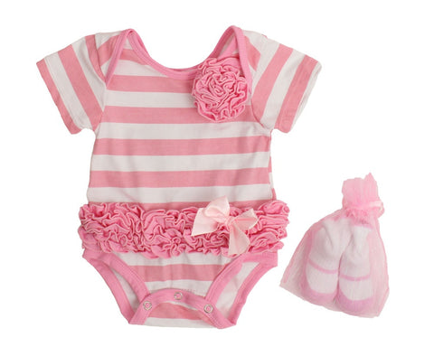 Popatu Baby Tutu Bodysuit Stripe Ruffle - Popatu pageant and easter petti dress