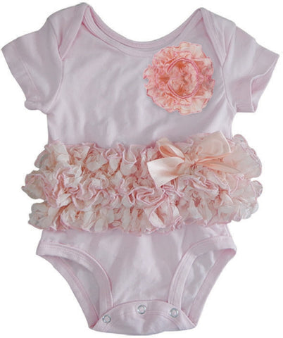 Popatu Baby Tutu Bodysuit Peach Flower - Popatu pageant and easter petti dress
