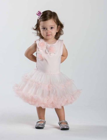 Popatu Baby Dress Dusty Rose Petti Ruffle Dress - Popatu pageant and easter petti dress