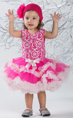 Popatu Little Girls Hot Pink Lace Petti Dress - Popatu pageant and easter petti dress