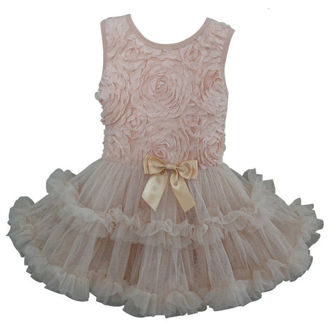 Popatu Little Girls Soutache Flower Ivory Petti Dress - Popatu pageant and easter petti dress