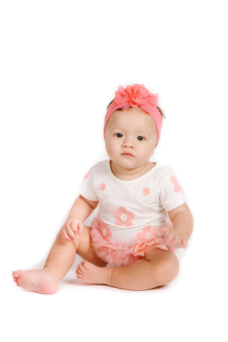 Popatu Baby Tutu Bodysuit White with Peach Daisies - Popatu pageant and easter petti dress