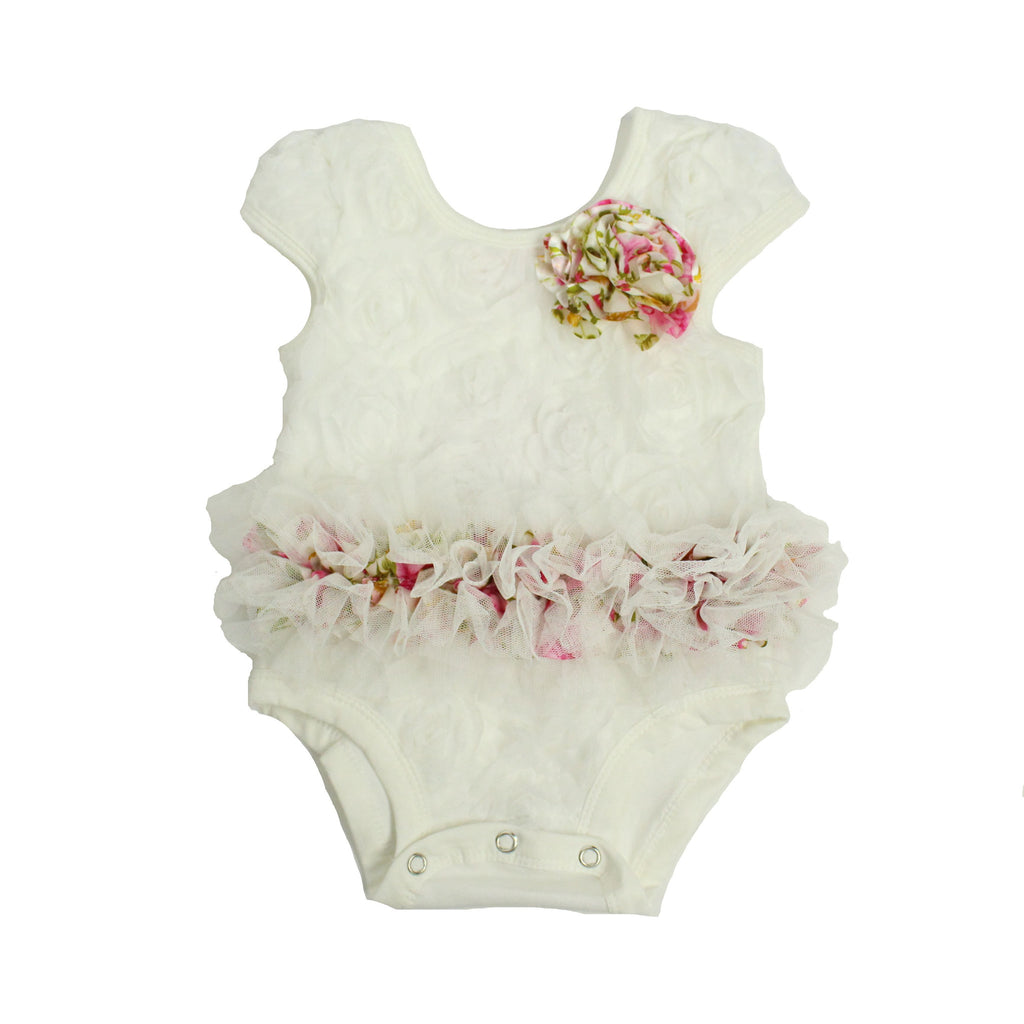 Popatu Baby Tutu Bodysuit Spring Floral Tutu - Popatu pageant and easter petti dress