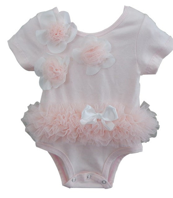 Baby Girl Dusty Pink Flower Tutu Bodysuit - Popatu pageant and easter petti dress