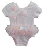 Popatu Baby Tutu Bodysuit Dusty Pink Flower - Popatu pageant and easter petti dress