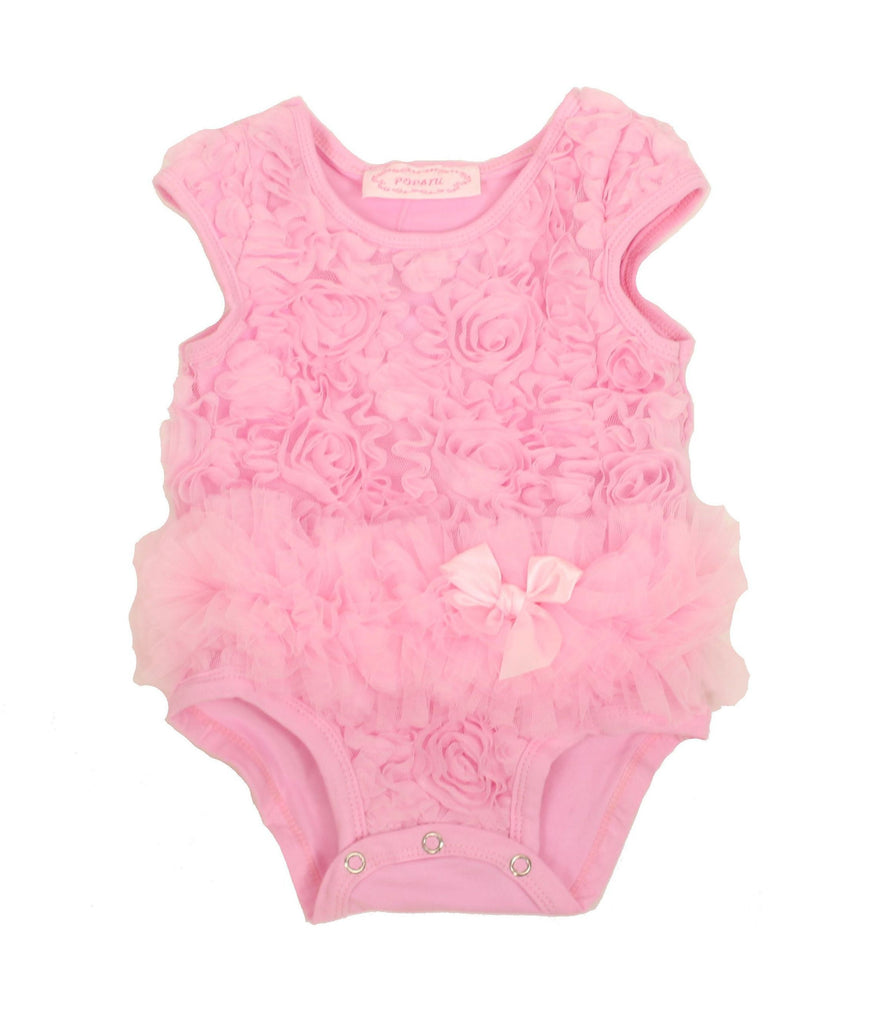 Baby Girl Rose Pink Mesh Tutu Bodysuit - Popatu pageant and easter petti dress