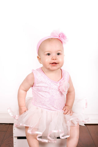 Popatu Baby Tutu Bodysuit Pink Lace Tutu - Popatu pageant and easter petti dress