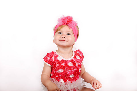 Popatu Baby Tutu Bodysuit Hot Pink Mesh - Popatu pageant and easter petti dress