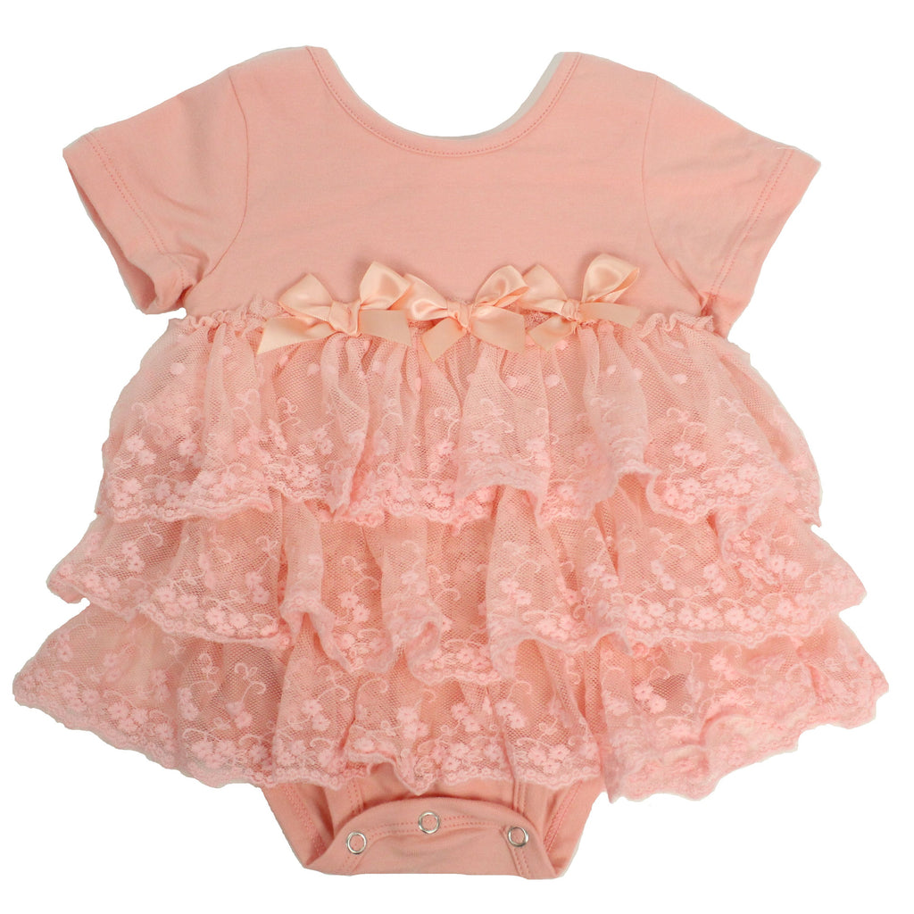 Popatu Baby Tutu Bodysuit Peach - Popatu pageant and easter petti dress