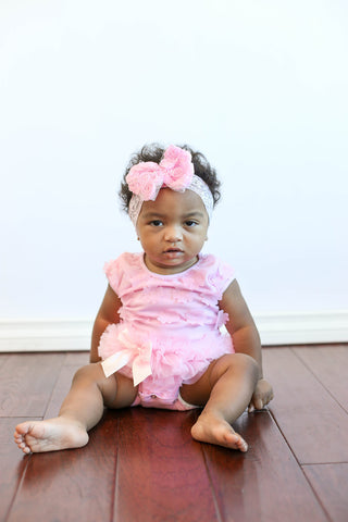 Popatu Baby Tutu Bodysuit Pink Flower Petal Tutu - Popatu pageant and easter petti dress