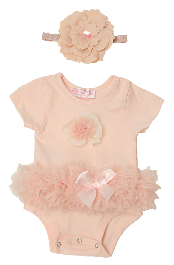Popatu Baby Tutu Peach Flower Bodysuit - Popatu pageant and easter petti dress