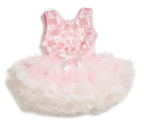 Toddler's Mini Flowers Ruffle Petti Dress - Popatu pageant and easter petti dress