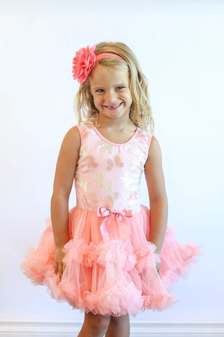 Popatu Little Girls Butterfly Ruffle Dress - Popatu pageant and easter petti dress