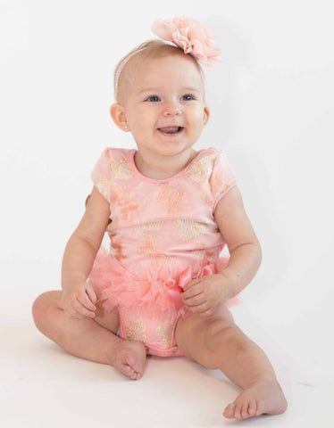 Popatu Baby Tutu Bodysuit Peach Butterfly Tutu - Popatu pageant and easter petti dress