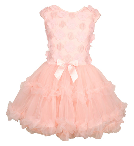 Popatu Little Girls Elegant Tulle Dress - Popatu pageant and easter petti dress