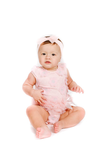 Popatu Baby Tutu Bodysuit Dusty Rose Swirls - Popatu pageant and easter petti dress
