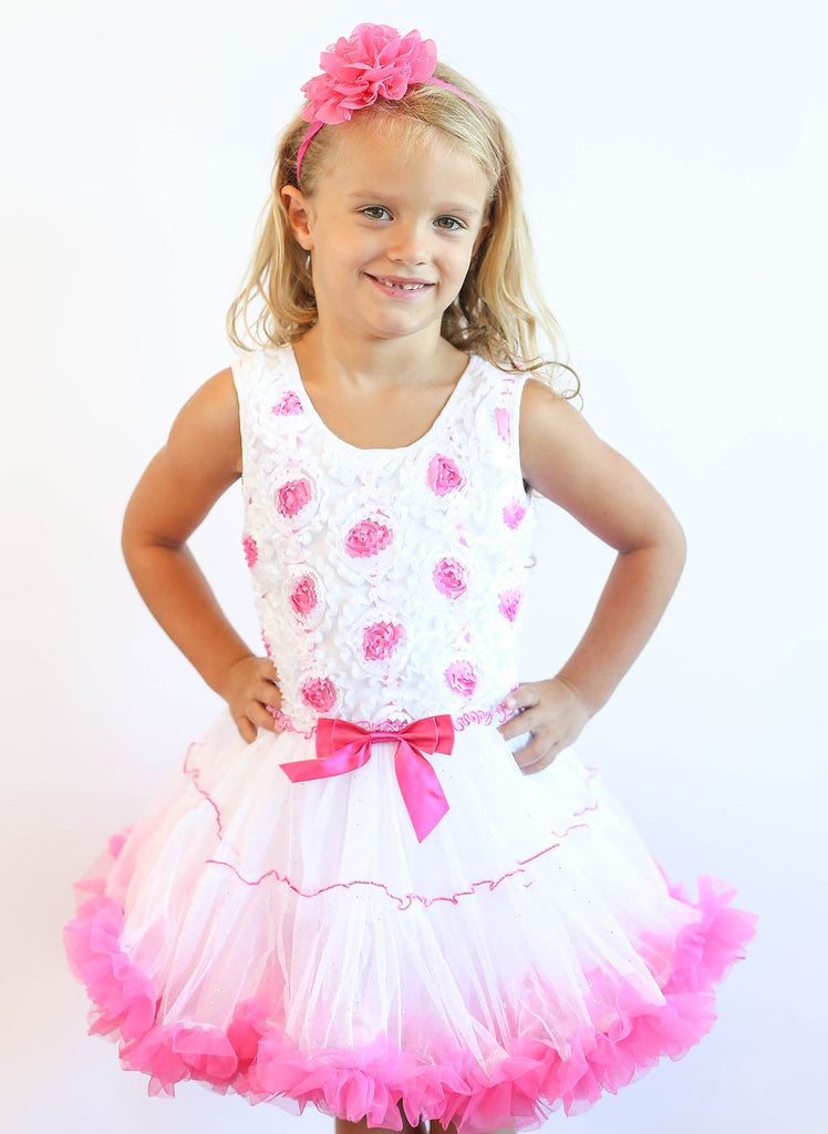 Popatu Little Girls White and Pink Rose Petti Dress - Popatu pageant and easter petti dress