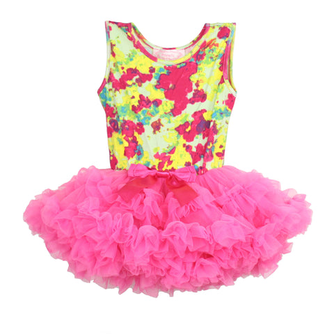 Popatu Little Girls Floral Print Ruffle Petti Dress - Popatu pageant and easter petti dress
