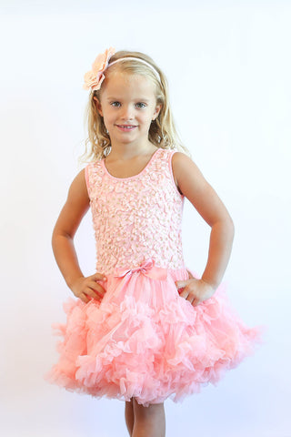 Popatu Little Girls Peach Flower Petti Dress - Popatu pageant and easter petti dress