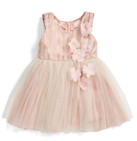 Popatu Little Girls Tulle Dress Dusty Pink Flowers - Popatu pageant and easter petti dress