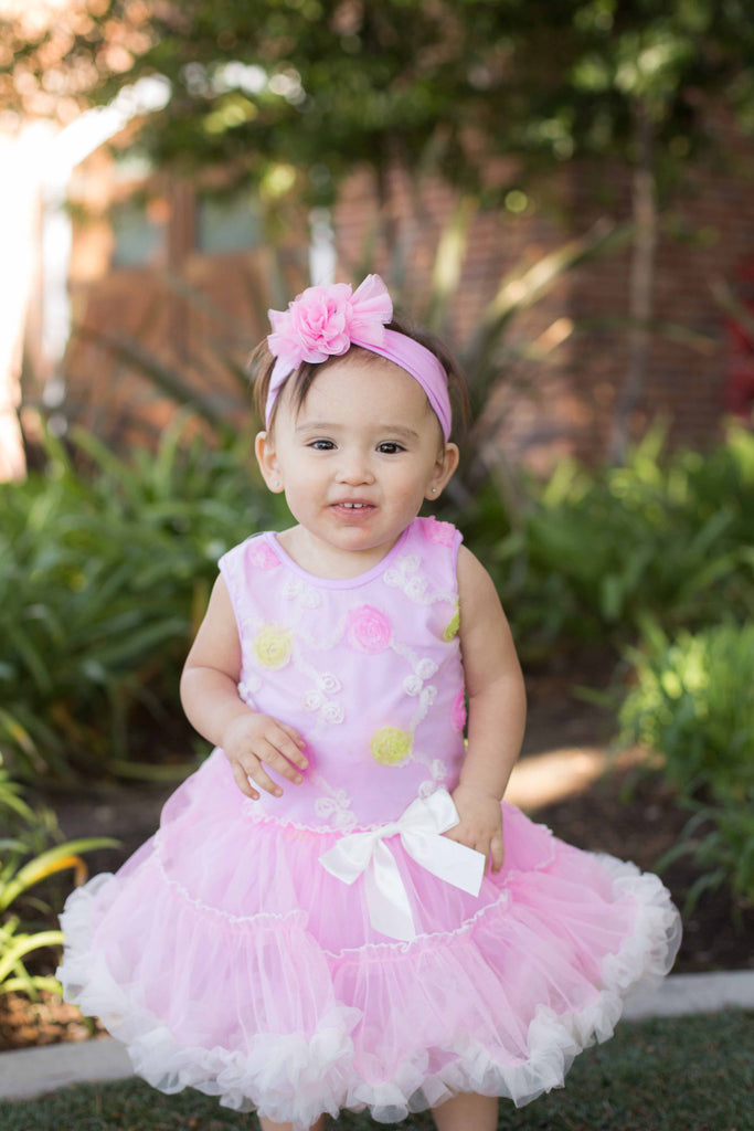 Popatu Baby Dress Flower Pink Petti Dress - Popatu pageant and easter petti dress