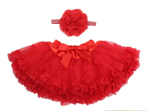 Popatu Baby Girl Ruffle Skirt With Headband Set - Popatu pageant and easter petti dress