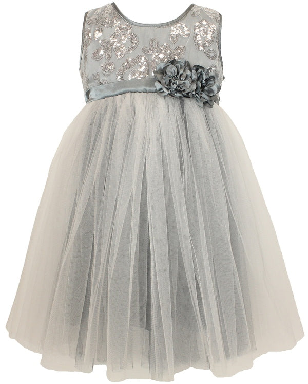 Popatu Baby Silver Flower Tulle Dress - Popatu pageant and easter petti dress