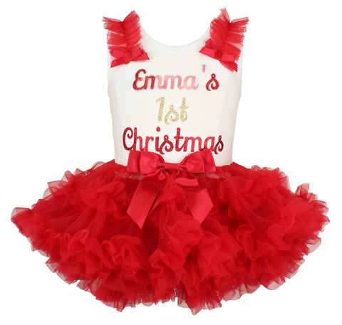 Popatu Personalized 1st Christmas Ruffle Dress