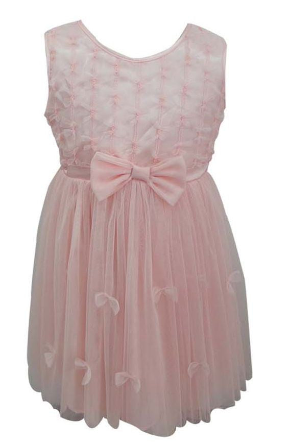 Popatu Baby Tulle Dress Peach Bow - Popatu pageant and easter petti dress