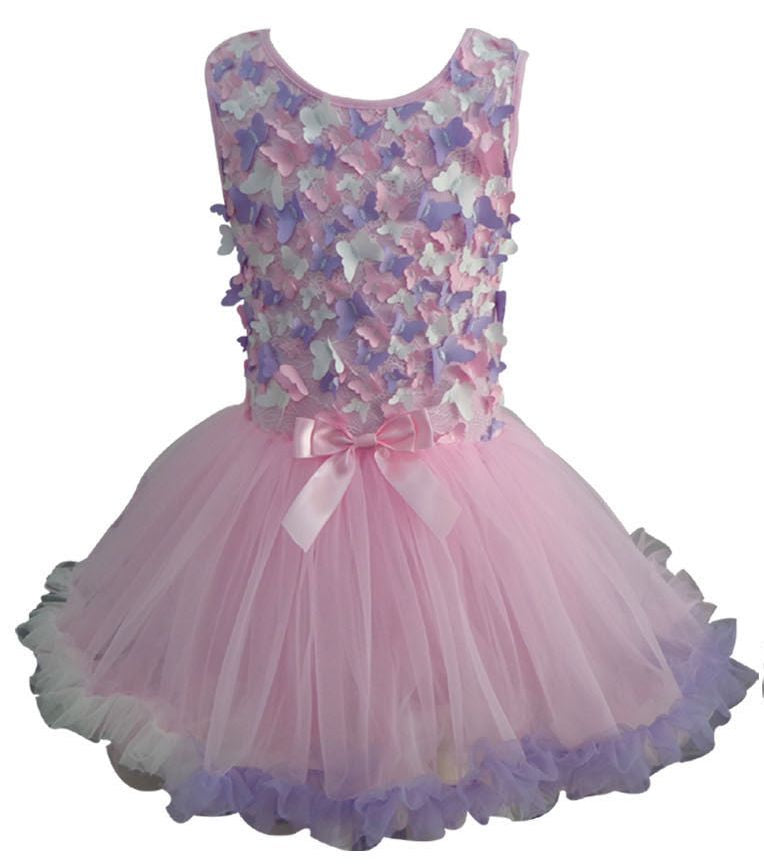 Popatu Little Girls Butterfly Petti Ruffle Dress - Popatu pageant and easter petti dress