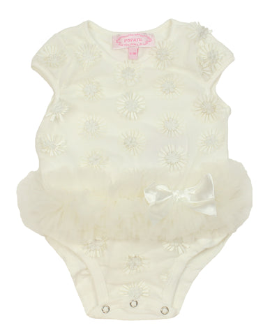 Popatu White Daisy Baby Bodysuit - Popatu pageant and easter petti dress