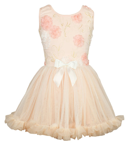 Popatu Baby Dress Elegant Peach Petti Ruffle Dress - Popatu pageant and easter petti dress