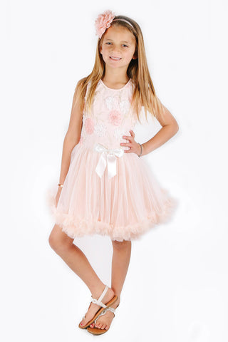 Popatu Little Girls Elegant Flower Peach Ruffle Dress - Popatu pageant and easter petti dress