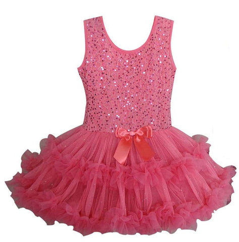 Popatu Baby Girls Coral Sequin Ruffle Dress - Popatu pageant and easter petti dress
